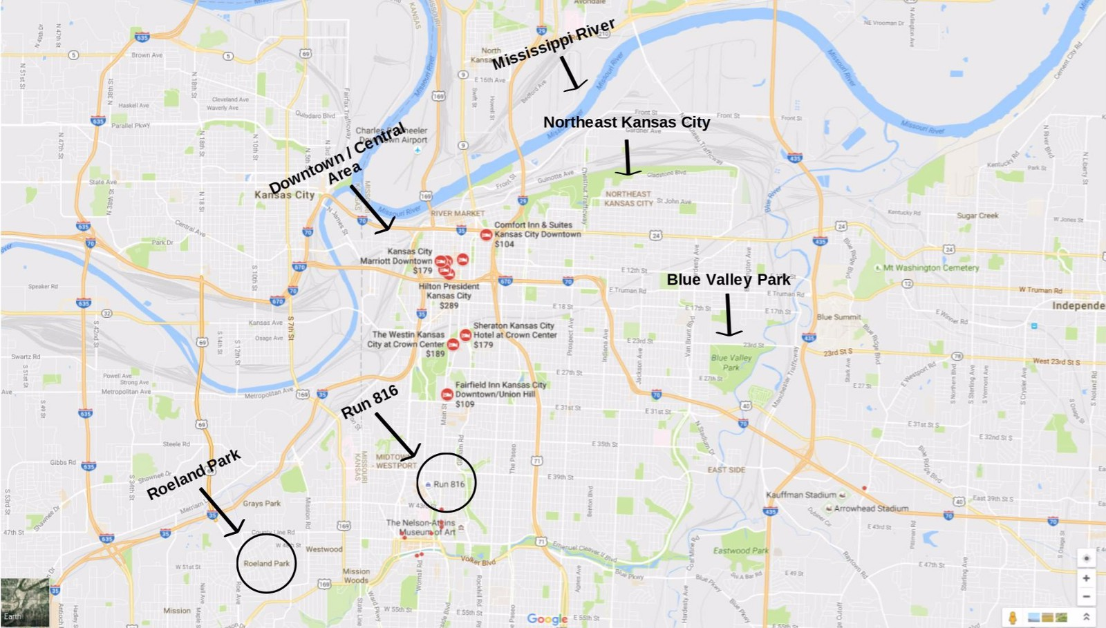 there are clusters of hotels near downtown the plaza and some more towards northeast kansas city the map below displays several hotels near downtown and