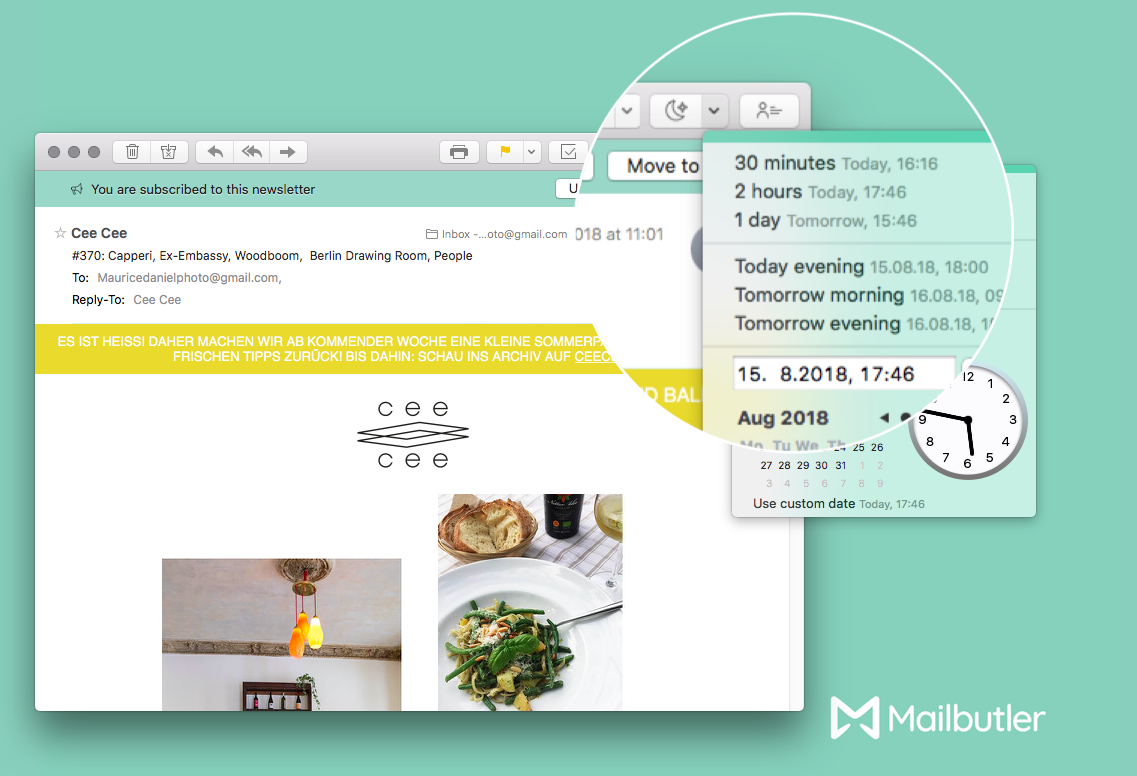 Use Mailbutler's Snooze feature to help you clean up your inbox