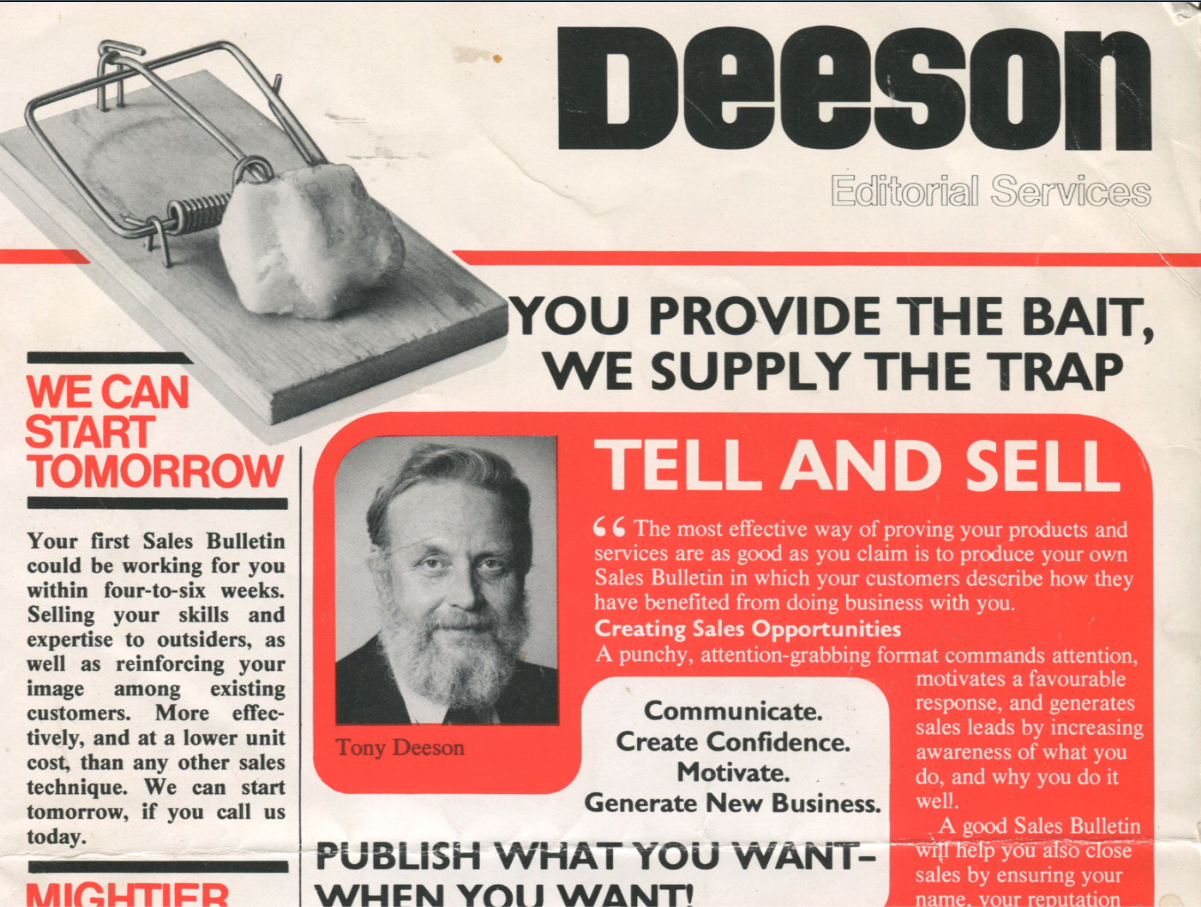 Early Deeson marketing materials