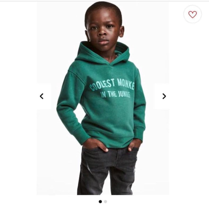 Hoodie on black boy with print: Coolest Monkey in the jungle