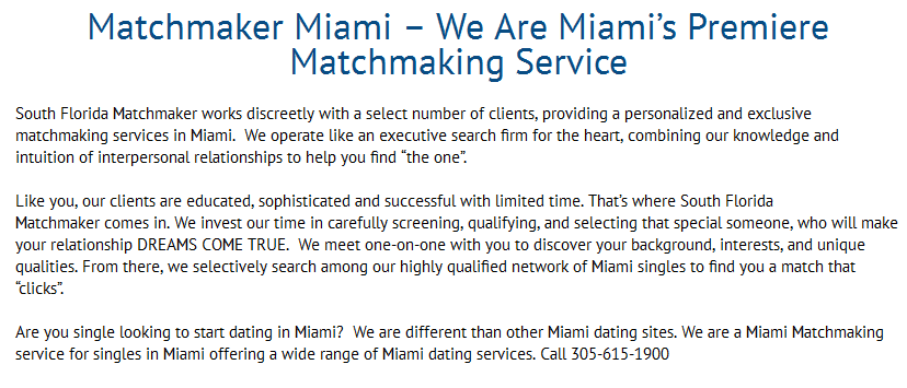 Matchmaking miami