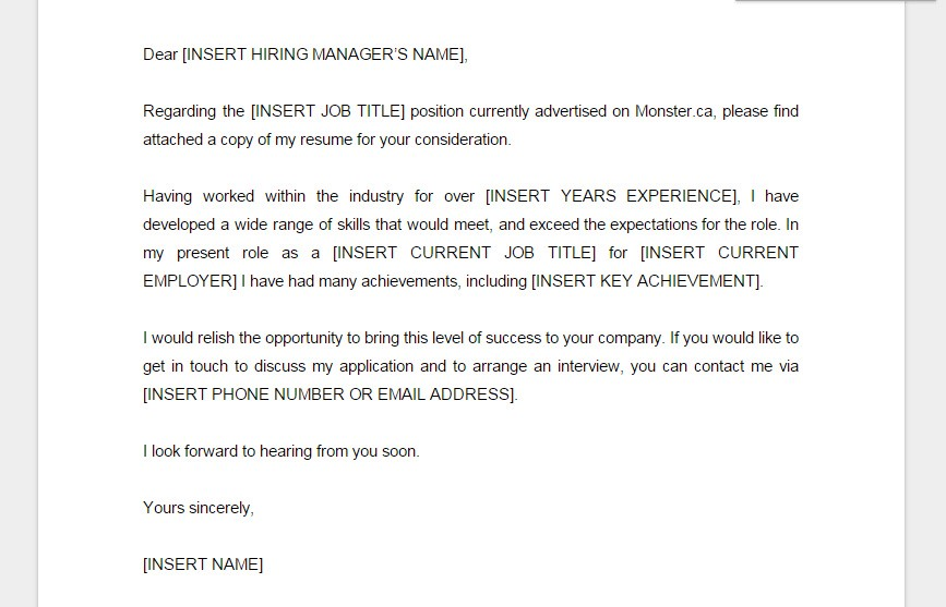 ejemplo de cover letter formal en monsterca