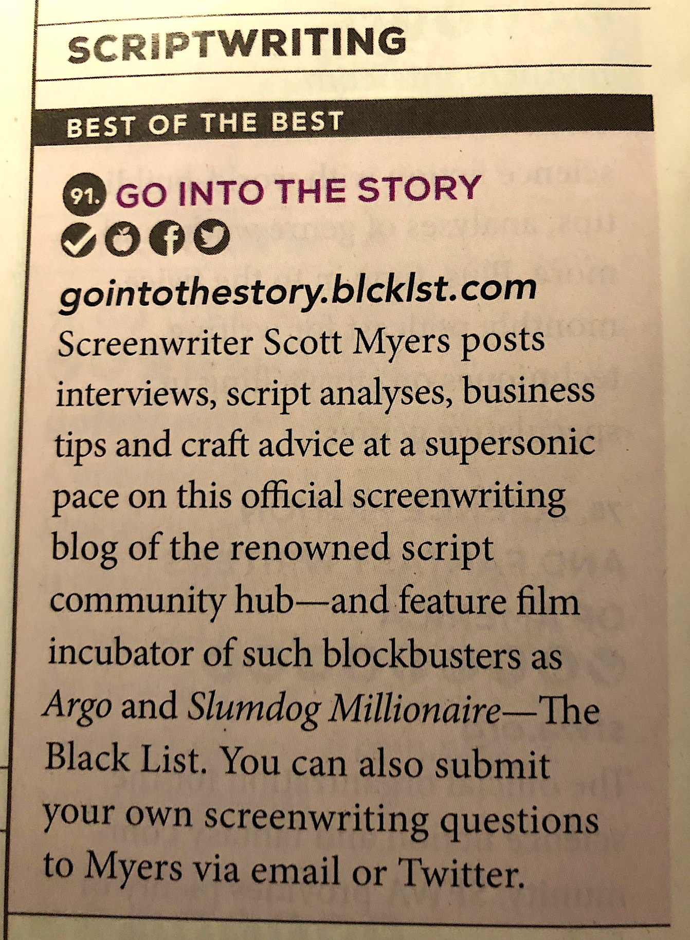 """Go Into The Story: """"Best of the Best"""" Scriptwriting Website"""