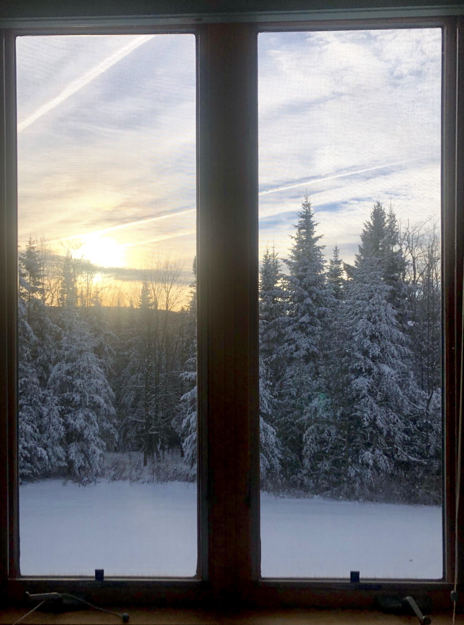 Northern parts of the world that currently have long cold winters will become climate havens as the Earth's temperature rises due to climate change. Snowy sunset in a Climate Haven, Photo by Lisbeth Kaufman