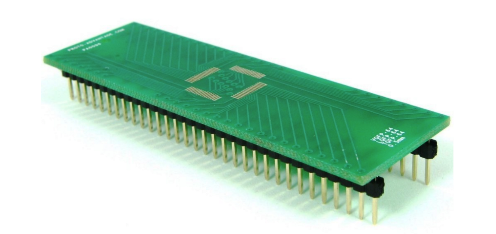 Connection Headers On Mini Circuit Board Surface Mount Electronics For Hobbyists Easier Than You Think The Reverse Side Of Kicad Proto Pcb Includes Footprints Larger Chips Including Tqfp 64 There Are Also Standalone Boards