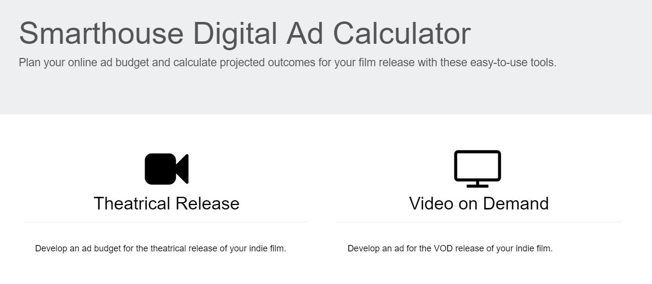 online ad budget calculator smarthouse indie film marketing
