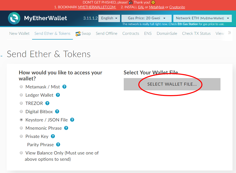 how to get ether in wallet from account
