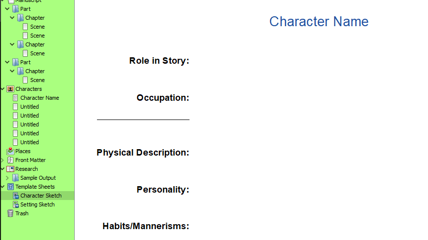 Planning my Novel in Scrivener: Character Profiles.