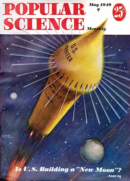 """Is U.S. Building a 'New Moon'?"" Cover by Ray Ploch, Popular Science, May 1949."