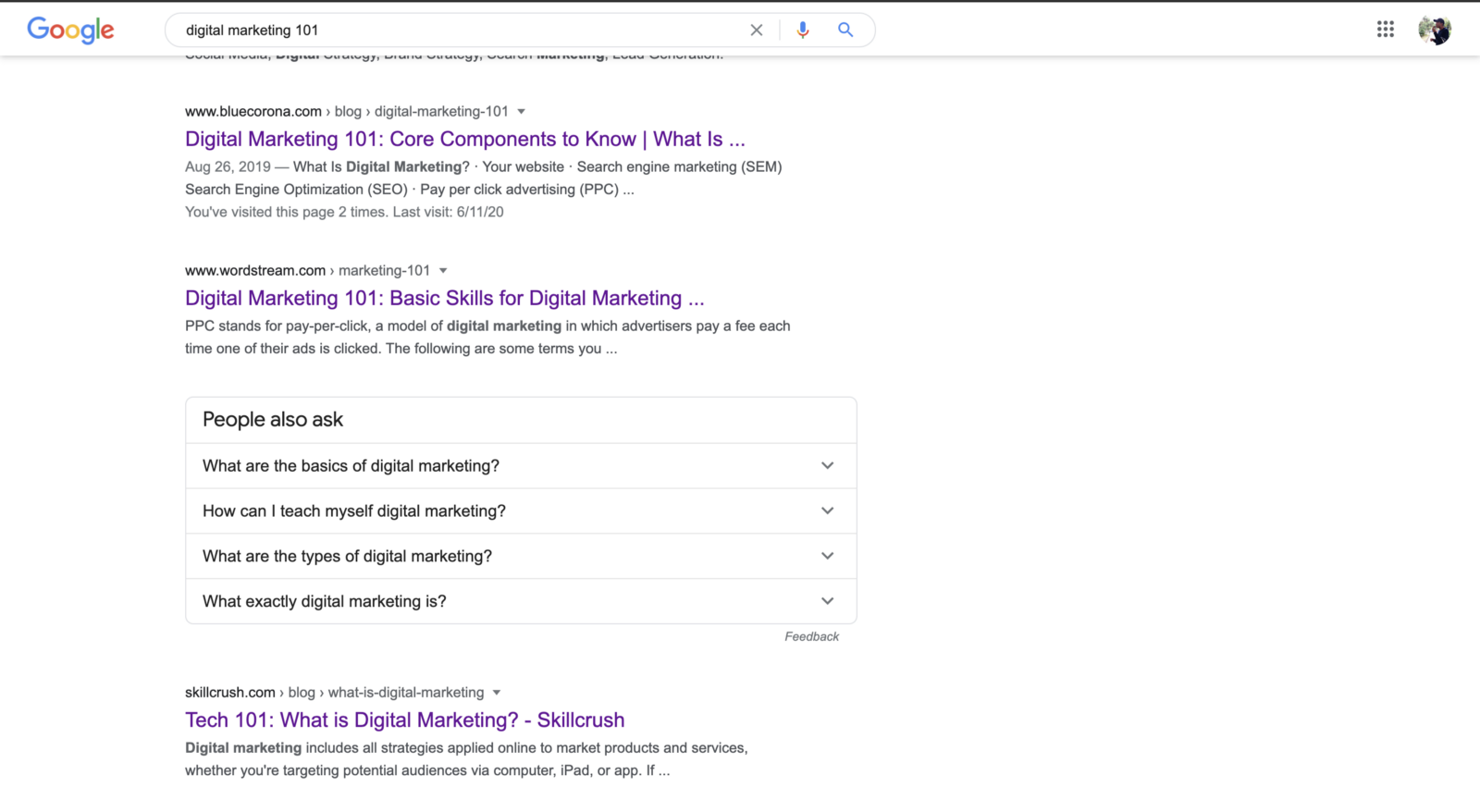 Google Digital Marketing 101 搜尋結果
