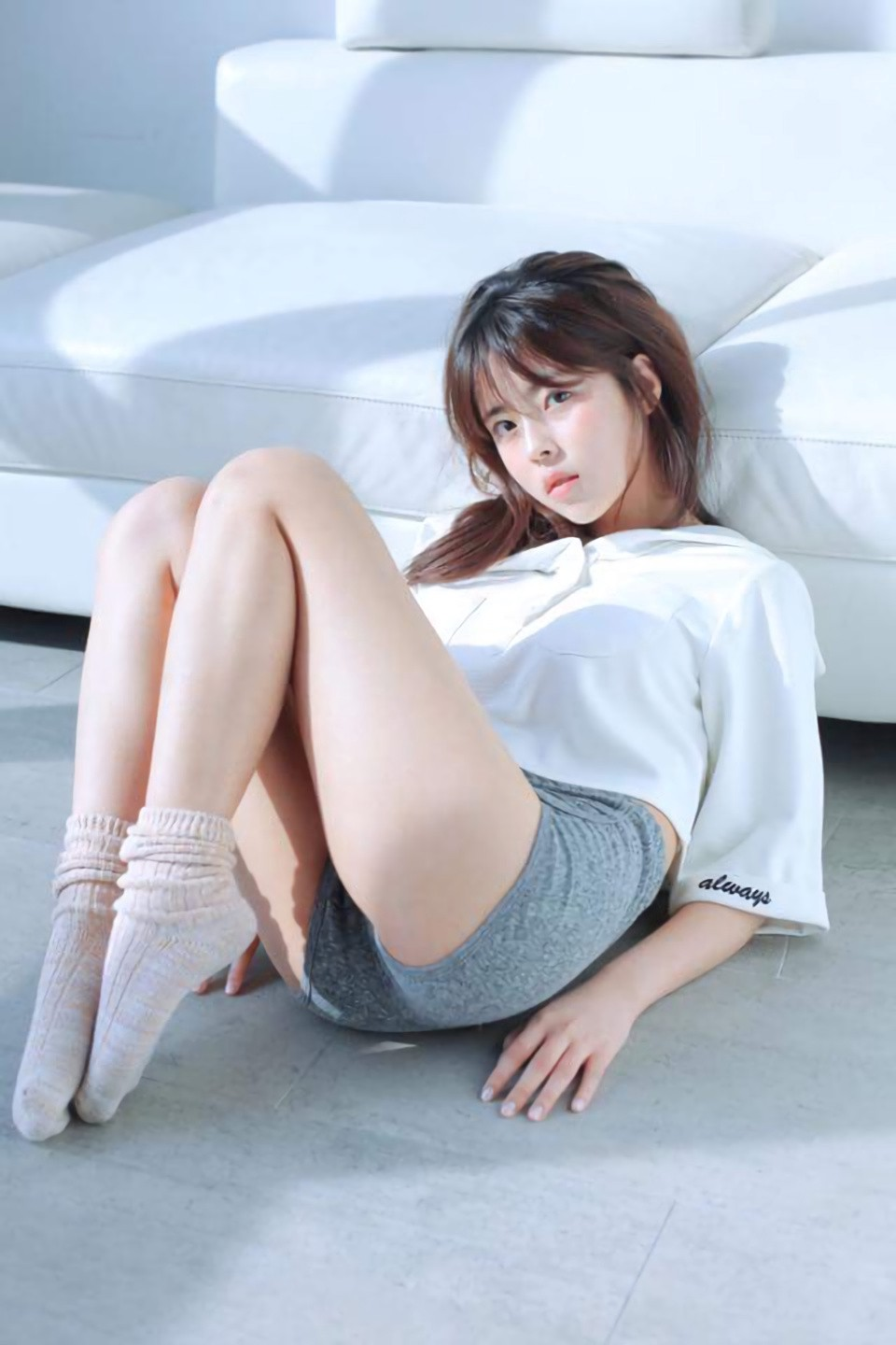 Ls- nude imagesize:960x1440 Fully clothed, not showing any primary or secondary sex organs, engaged in  so explicit sexual acts. But, socks? Half-parted lips?