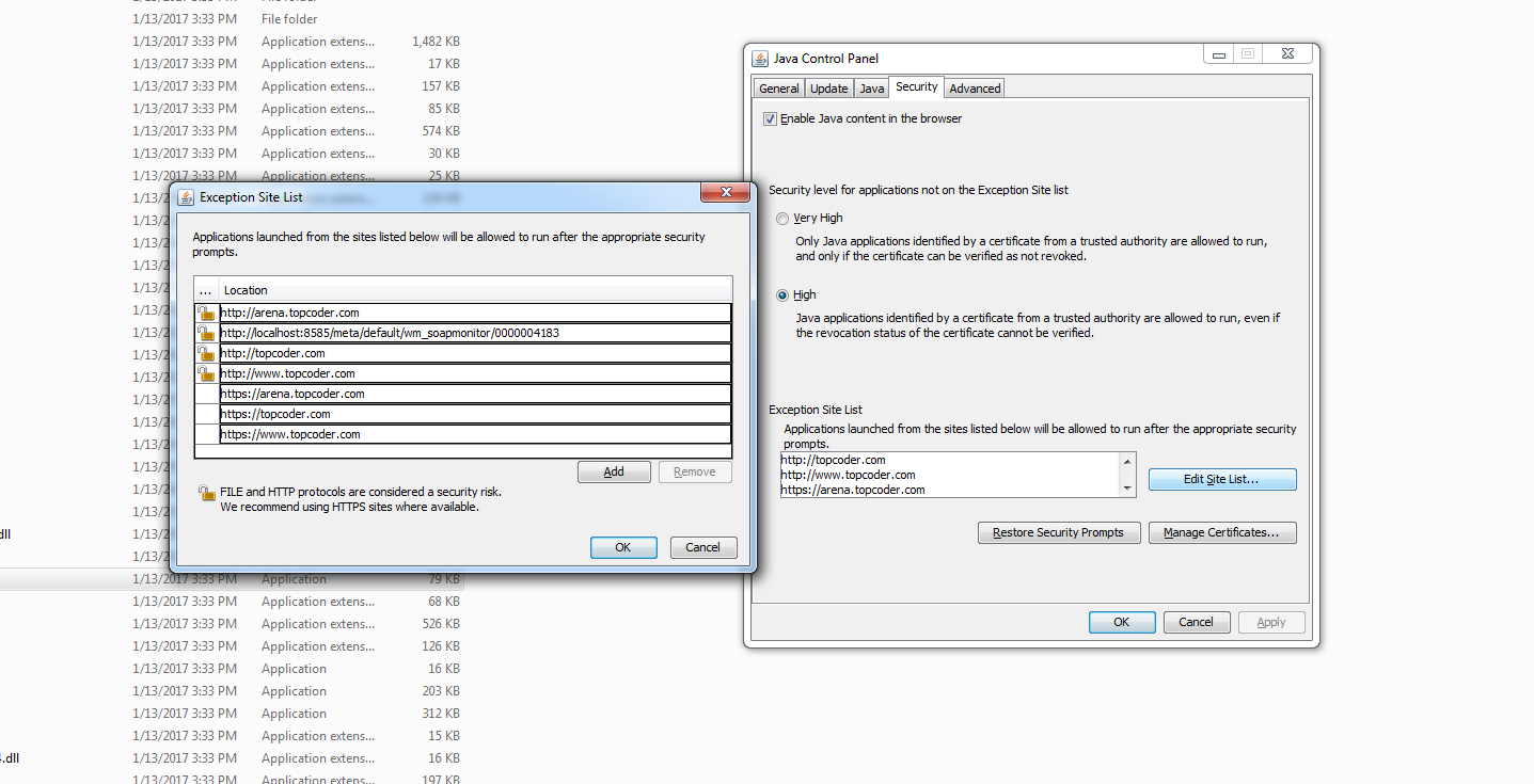 Resolve \u2014 Topcoder Application blocked by java security in Windows