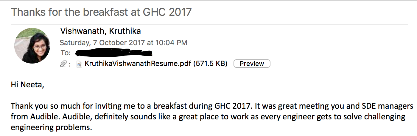 thank you note to audible - Grace Hopper Resume Database