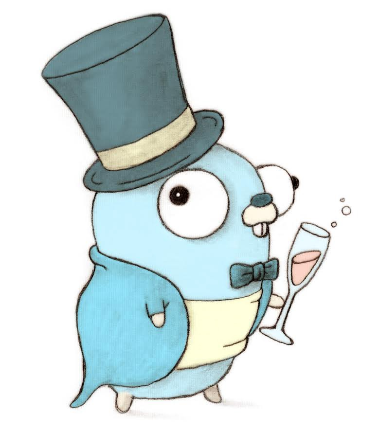 Golang gopher with a top hat on, a suit, and a glass of champagne