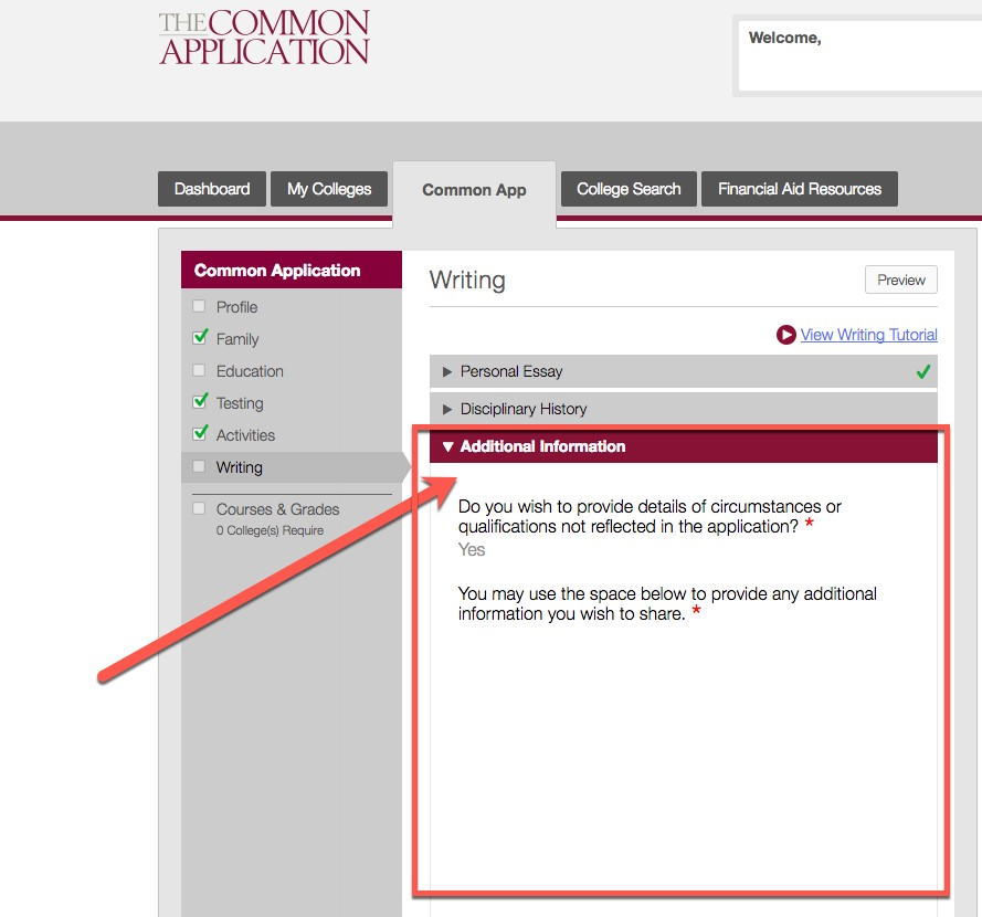 A Guide To The Additional Information Section Of The Common App
