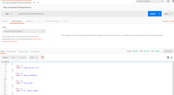 JSON output in postman