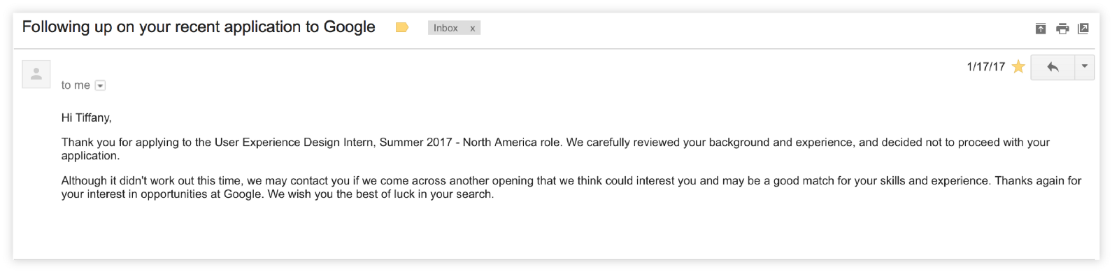 a few months later i applied for a different google internship opportunity and i got an e mail about the first interview round