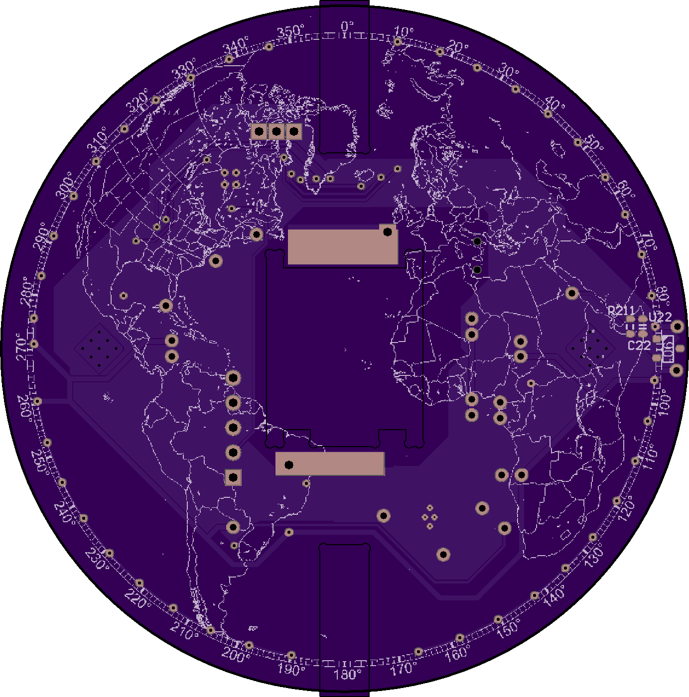 Global View Shows The Earths Continents On A Spinning Persistence Diy Pcb How To Create Your Printed Circuit Board O Hackadayio As Youd Expect Coordinating Modulation Of Those Leds Is Tricky Part This Build Jarrett Using Hall Effect Sensor Detect Whenever One