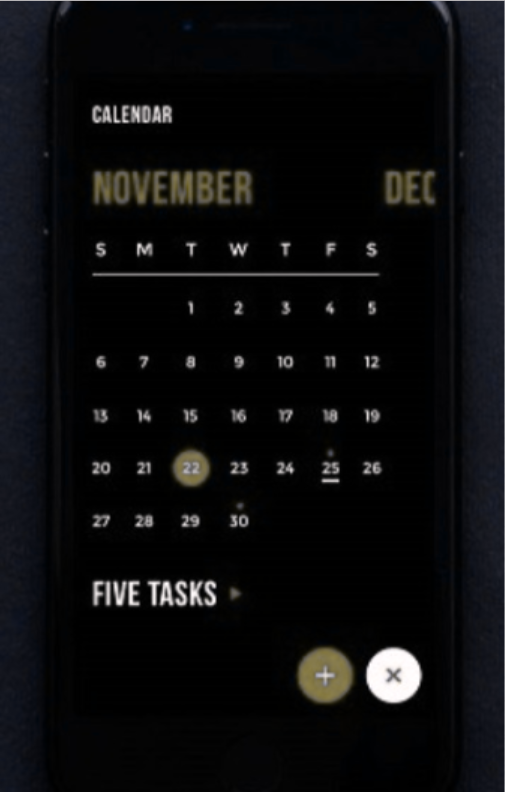 Calendar app where background color is black and important actionable components are red. This is what someone with the most common form of color blindness sees. (Coblis Color blindness simulation)