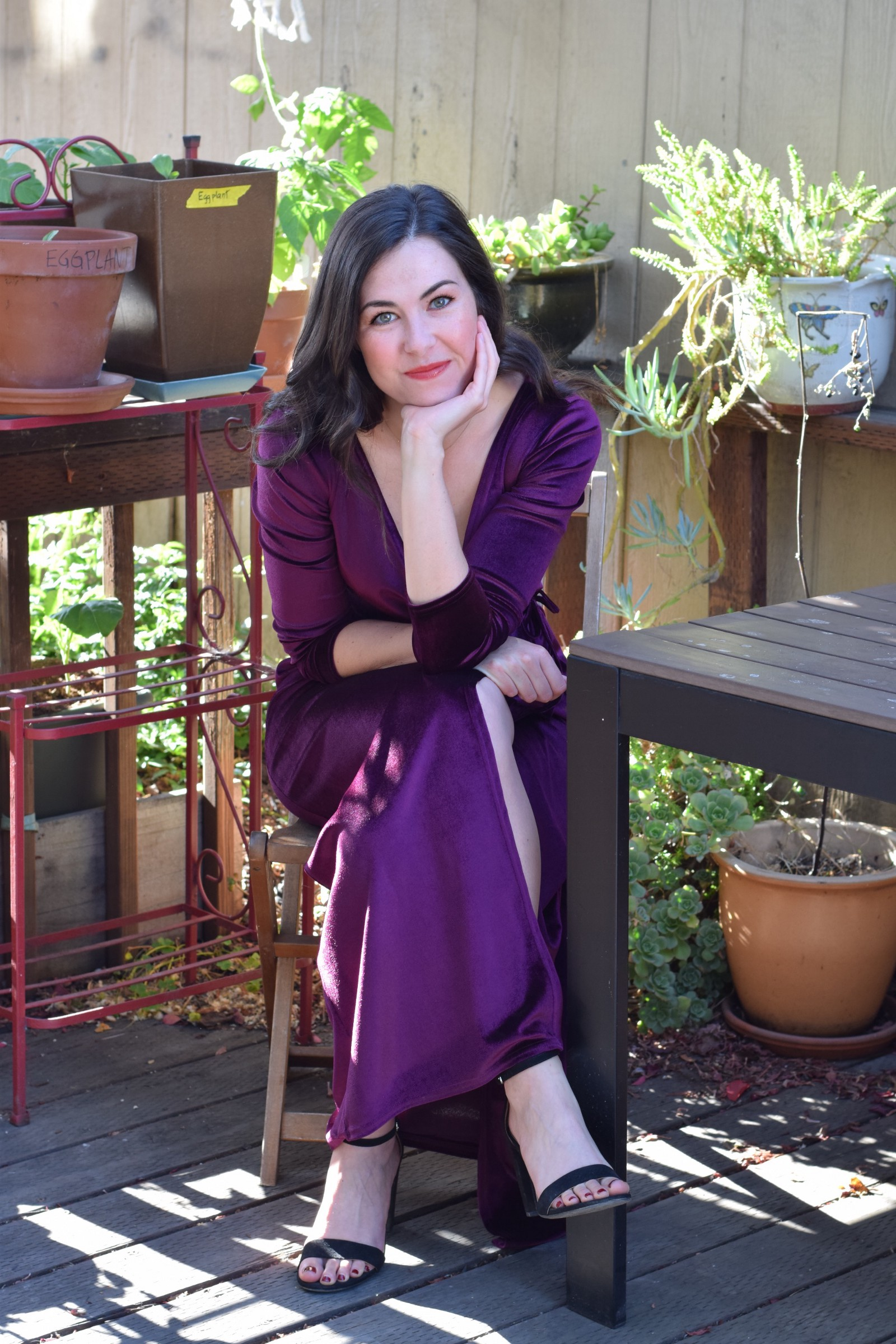Arielle Pardes, senior writer for WIRED wearing the Pink Velvet Shirt Dress by Bastet Noir