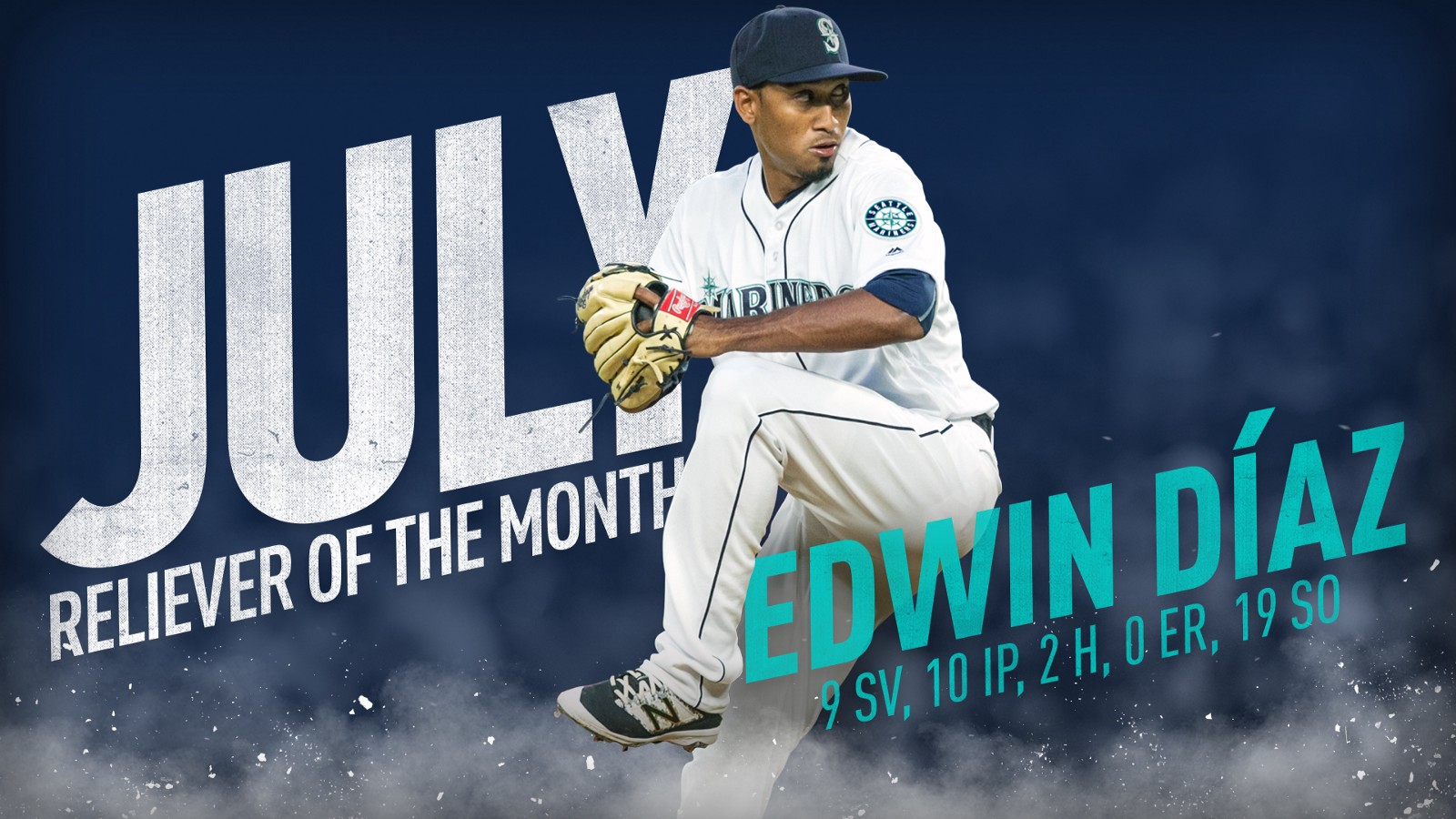 mariners right handed pitched edwin daz has been named the hartford presents american league reliever of the month for july it is dazs third such award