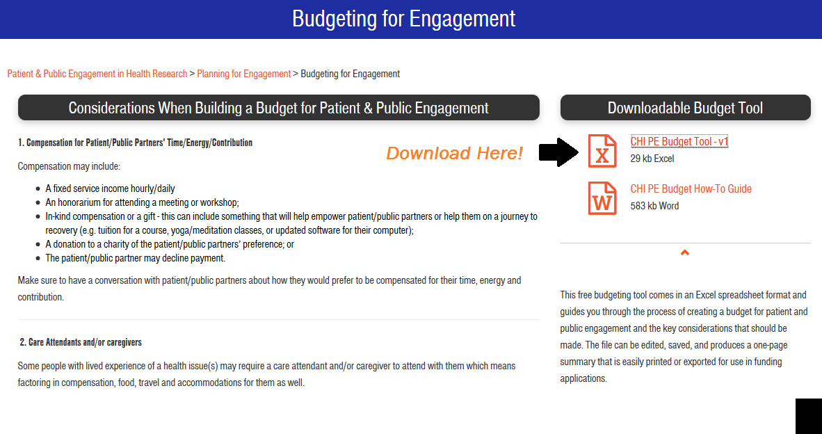 how to use chi s new patient and public engagement budgeting tool