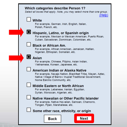 Attractive Possible 2020 Census Question: U201cWhich Categories Describe Person 1? Select  All Boxes That Apply.u201d Options Include U201cWhiteu201d, U201cHispanic, Latino, ...