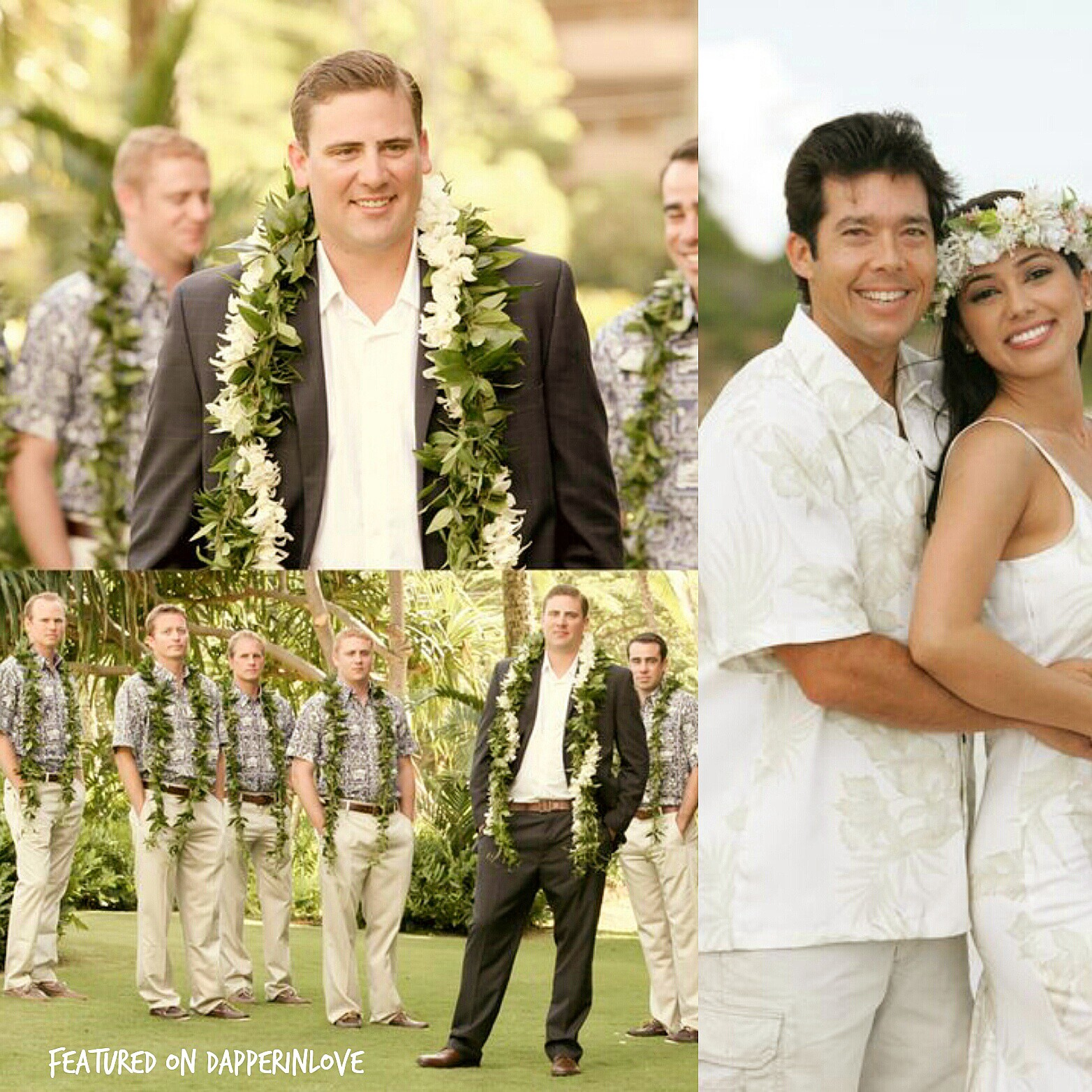 e8a235e9e342 Hawaiian shirts and leis are perfect for grooms who want to set the mood  for a fun, memorable beach wedding! {Sources}