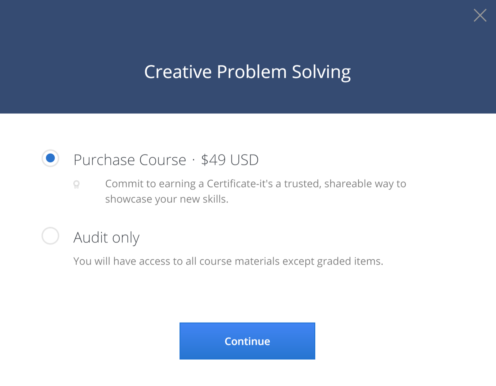 Coursera free online courses mooc certificates if its the certificate purchase option then just click audit only xflitez Gallery
