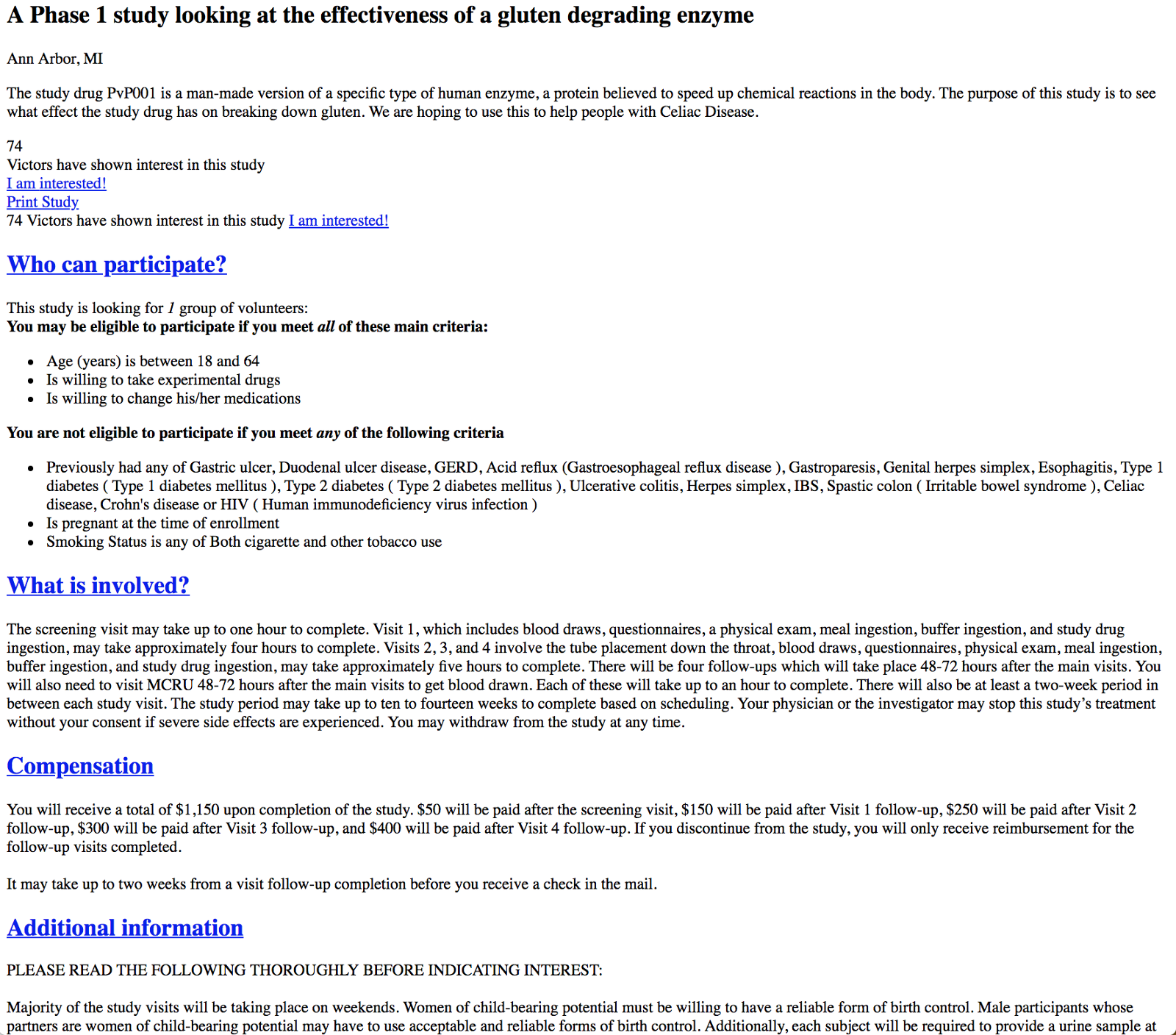 An un-styled study details page. A typical study page on UMHealthResearch contains a lot of text