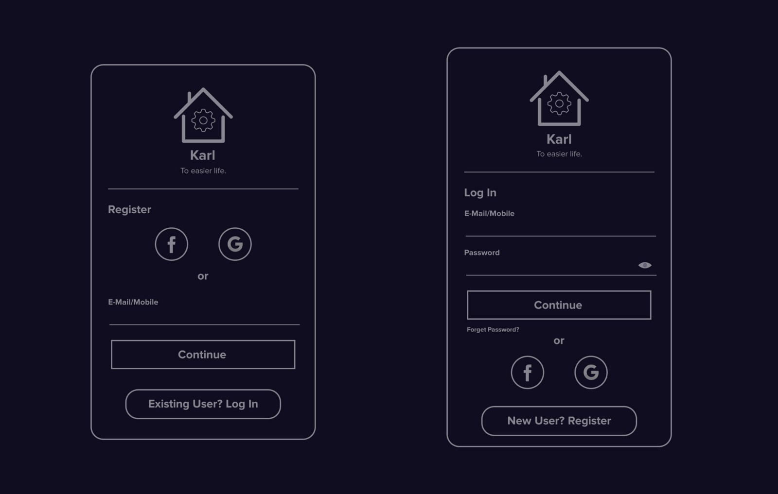 Wonderful E-home Automation By Design Part - 12: User Can Either Sign Up By Facebook/Google With One Tap Or They Can Input  Their E-Mail/Mobile Number, Receive OTP, Fill It To Verify Themselves And  Then Set ...