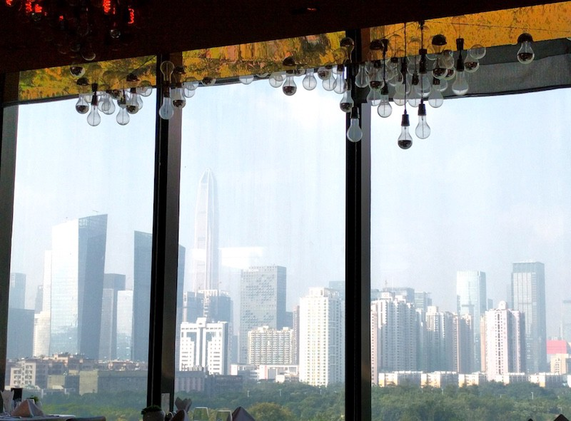The hazy Shenzhen skyline as seen from our hotel in November 2016. Image: Peter Bihr (CC by-nc-sa)