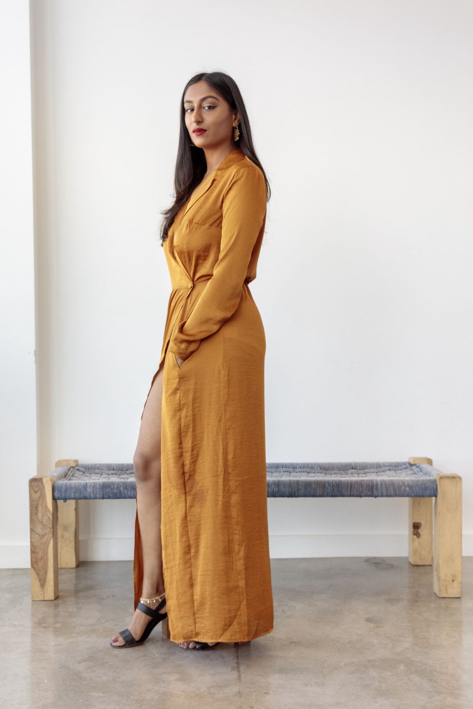 Pavana Reddy, the fierce poet who won our hearts over is wearing the marigold shirt dress by Bastet Noir, photo by: Joshua White