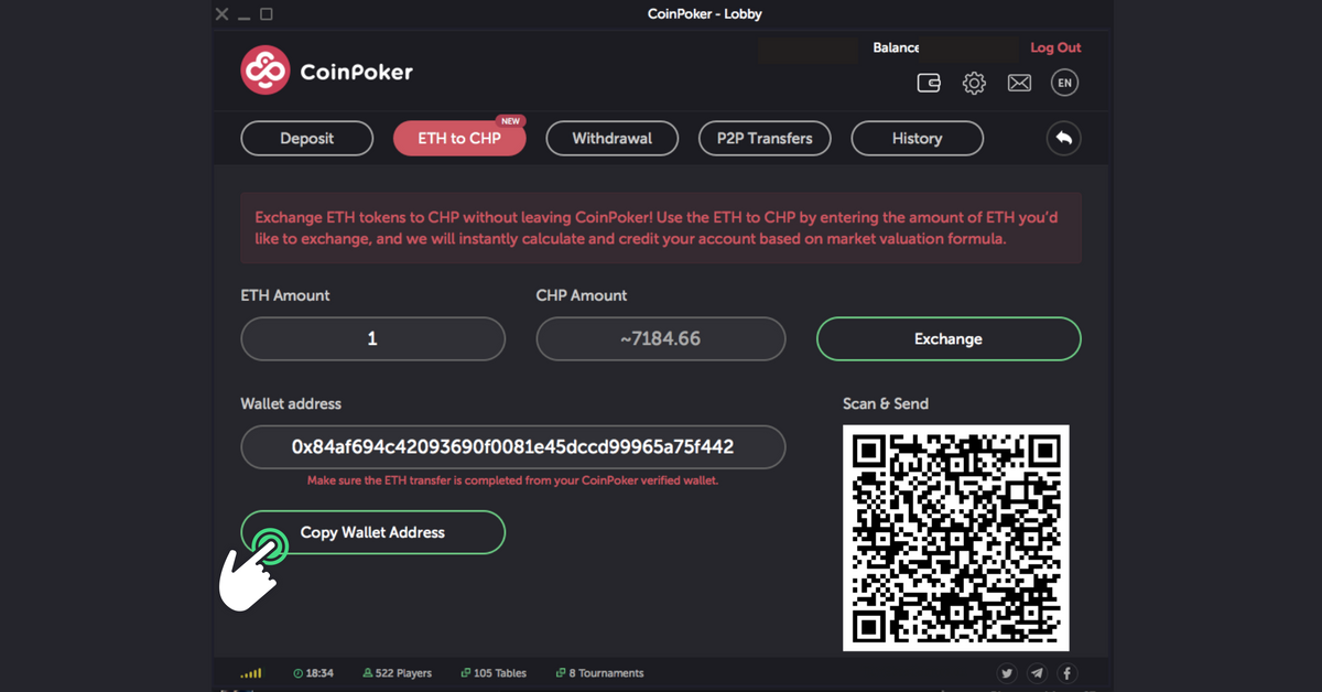 The fourth step to exchange CHP Tokens in CoinPoker