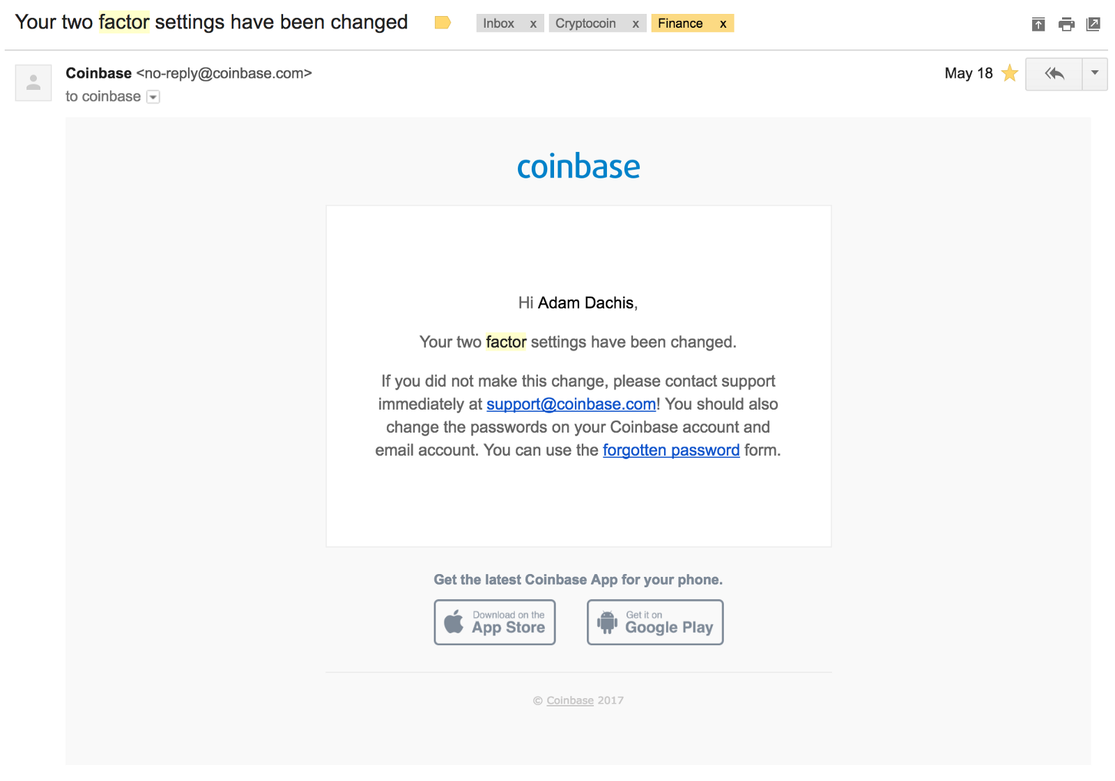 can t access coinbase account