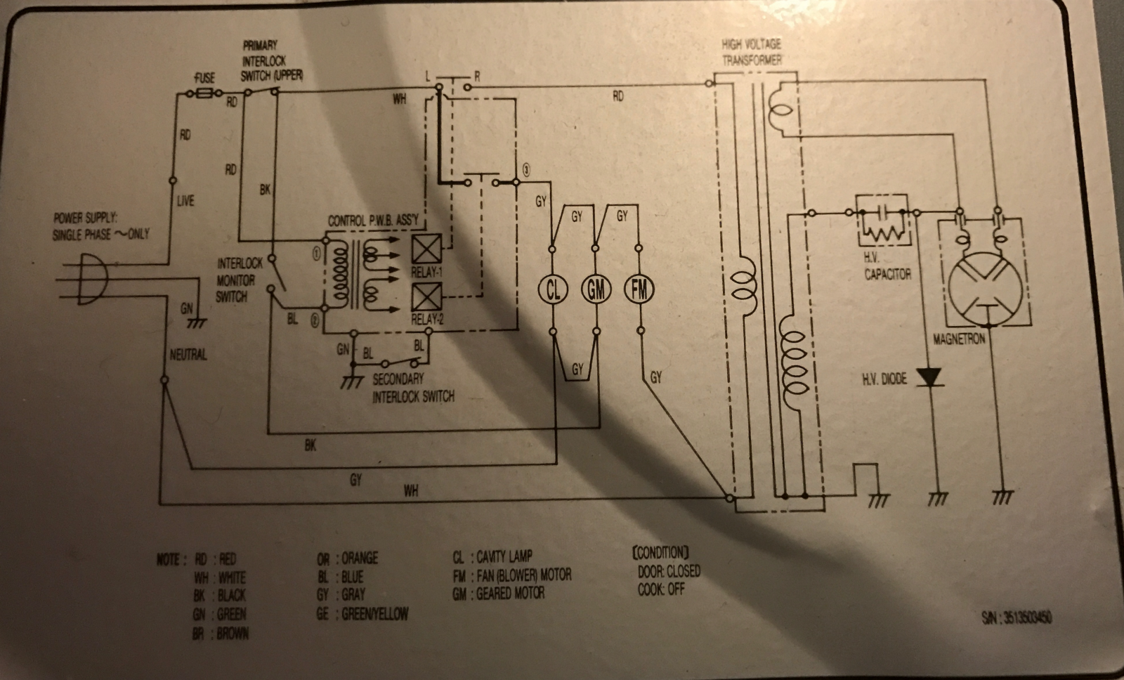 Emerson Mw8675w Microwave Oven Teardown Salvaging The Led Display Circuit Diagram A Pleasant Surprise Is Label On Top Containing Schematic