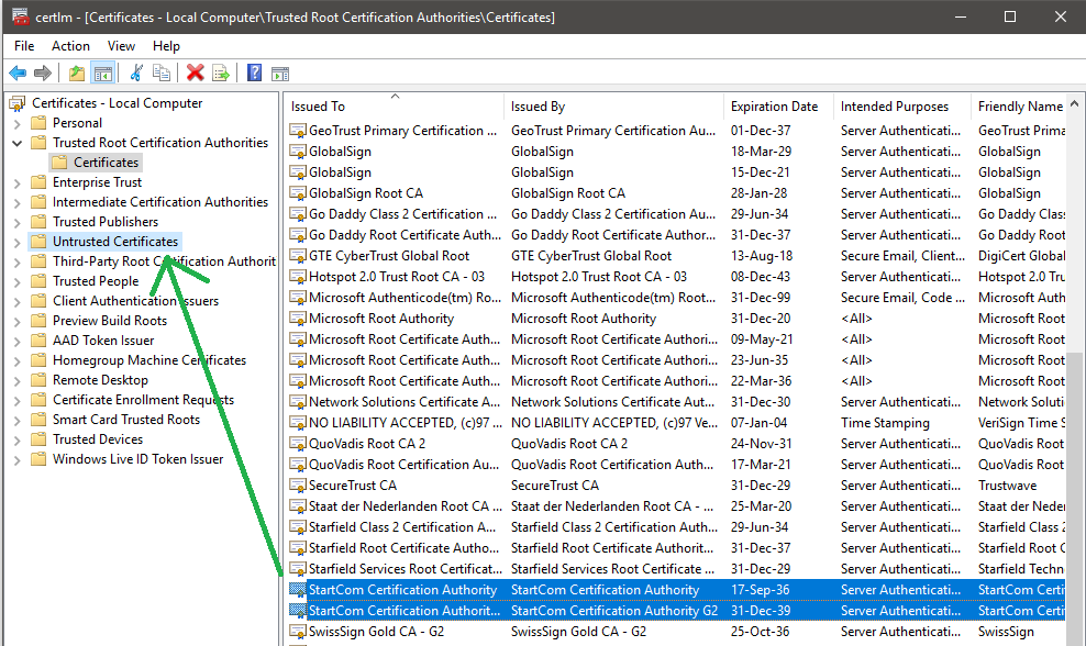 How To Distrust A System Certificate Authority In Windows 10