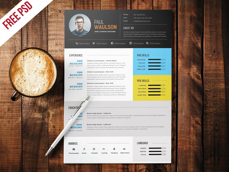 This Modern And Professional Resume CV Template To Help You Land That Great  Job. This Professional Resume File Is In The Adobe Photoshop Format.