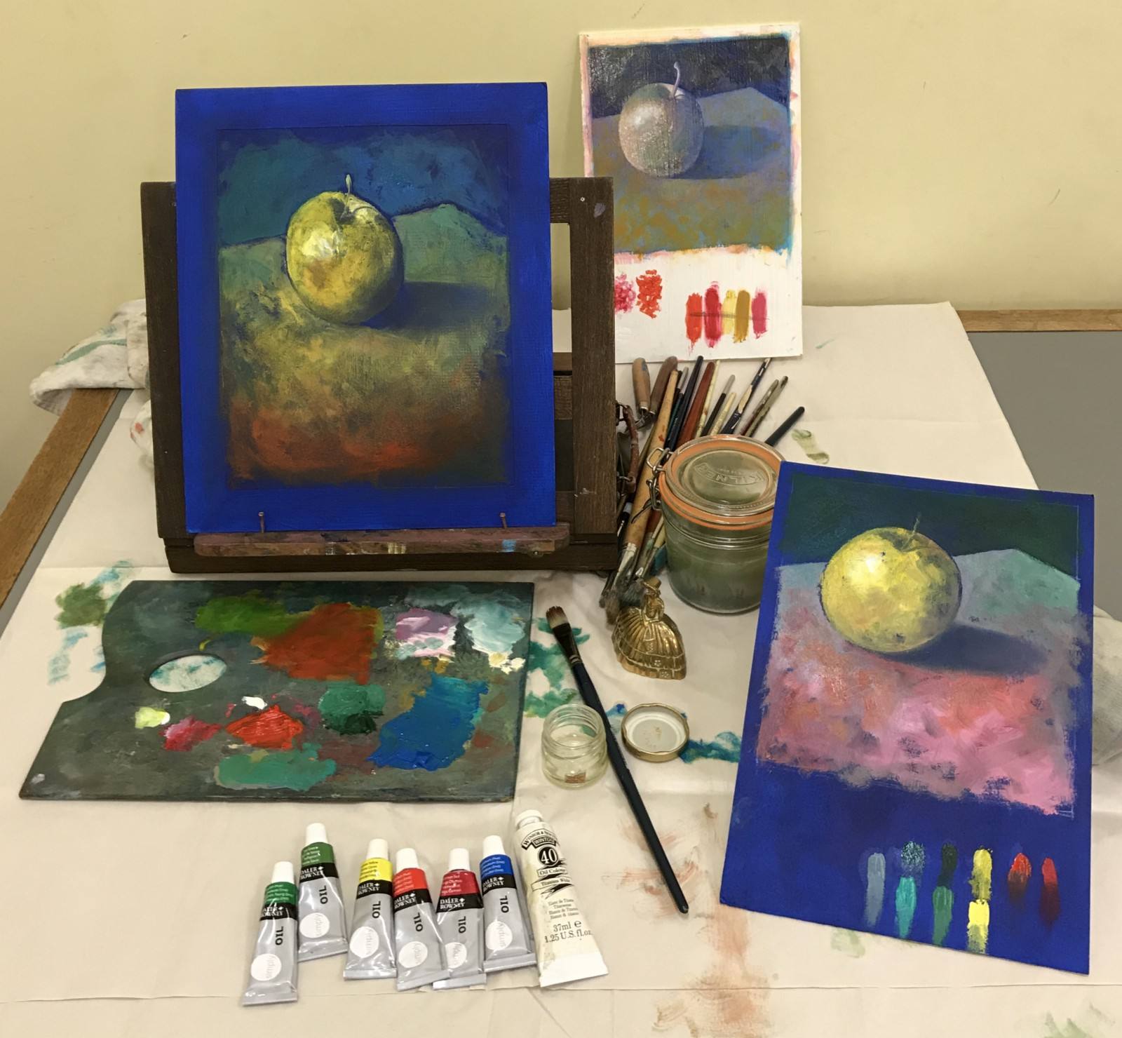The Paintings From This Week S Art Cl Demonstration Were Made On Mount Board Which Had Been Prepared With Blue Acrylic Paint Served