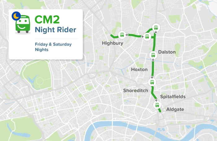 For Our First Commercial Bus Route Cm2 Night Rider Launching In Early September On Weekend Nights 9pm To 5am In The Heart Of East London