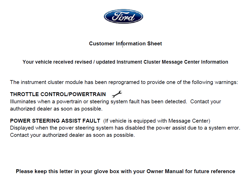 Ford S Customer Information Sheet For The Escape Recall 14s05 Makes No Indication That Faulty Or Less Durable Parts Are Still In Their