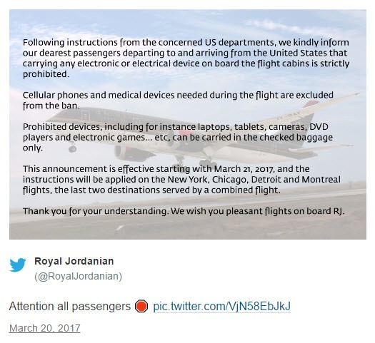 Report: US prevents some electronic devices on aircraft coming from