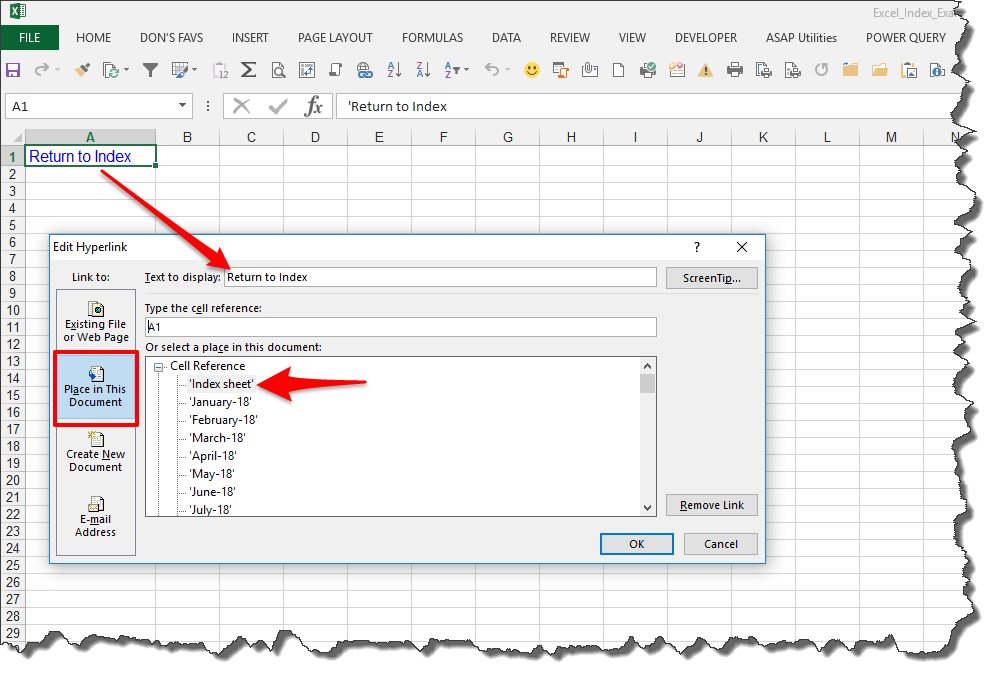 Microsoft Excel How Do I Quickly Create A Workbook With Multiple Tabs. Assign Hyperlink To Selected Text Return Index. Worksheet. Vba Deselect Sheet At Clickcart.co