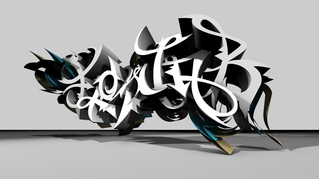 3D model much in the style of the graffiti above [image credit]