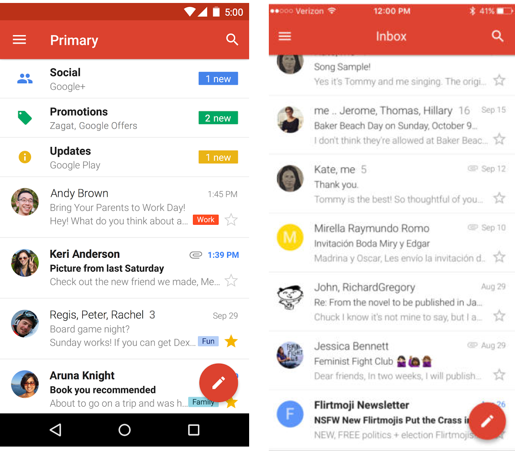 left gmail for android right gmail for ios both apps follow material design patterns