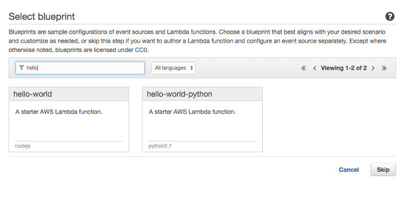 Getting started with aws lambda node js tom bray medium type hello into the filter input and click on the hello world blueprint for node js malvernweather Image collections