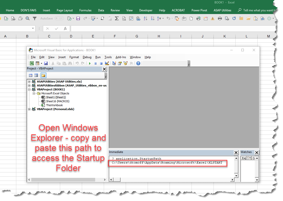 MS Excel Tip—EASILY Locate Your Startup and Add-Ins Folders!