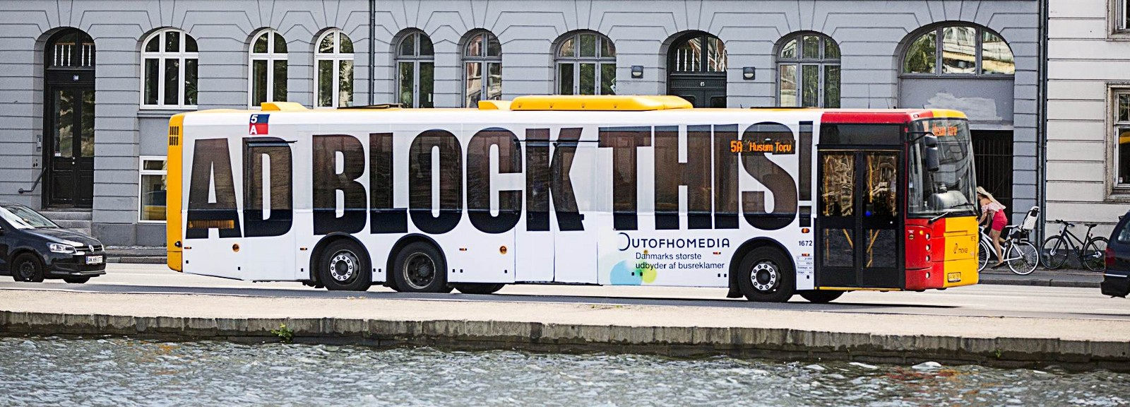 the ad block this bus makes a point on advertising medium