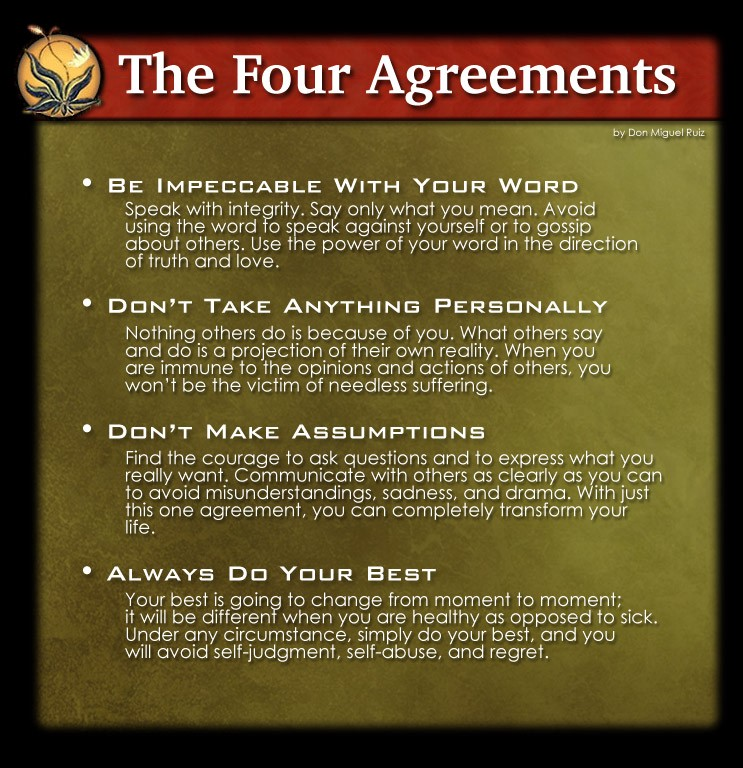 Book review the four agreements sef sheikh medium the goal of the 4 agreements is to replace your old toxic ways of thinking with the 4 agreements here are the 4 agreements platinumwayz