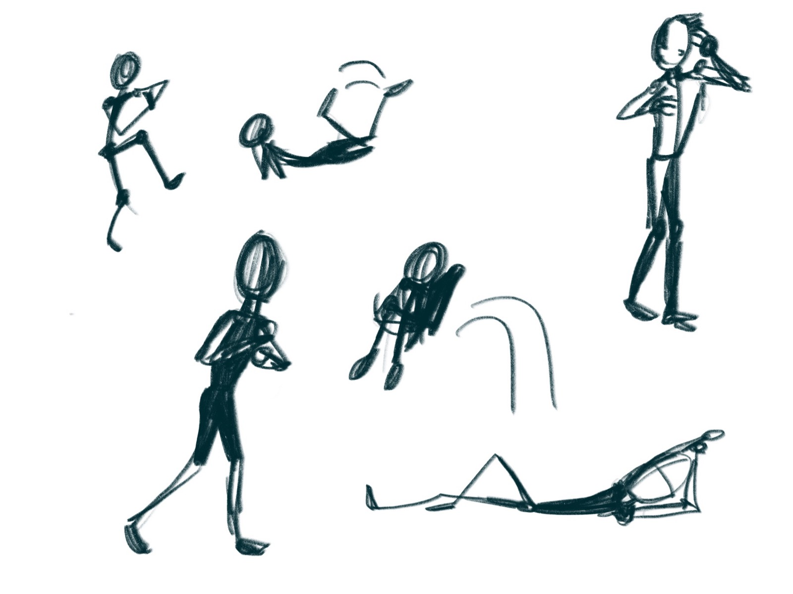 My attempts at drawing action stick figures which i will probably be very ashamed of later